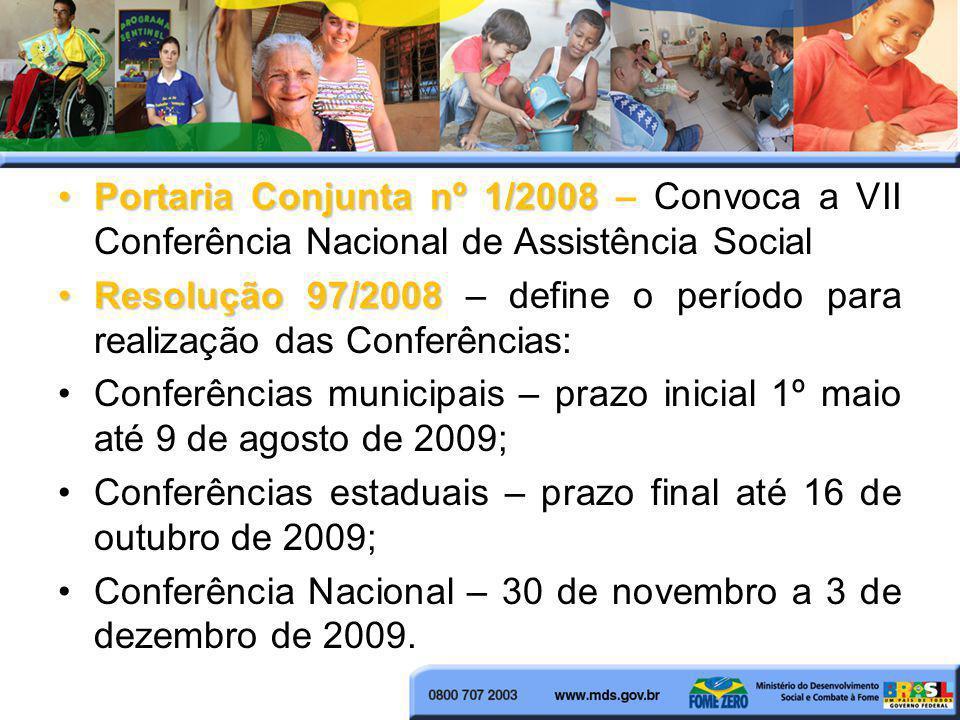 Portaria Conjunta nº 1/2008 – Convoca a VII Conferência Nacional de Assistência Social