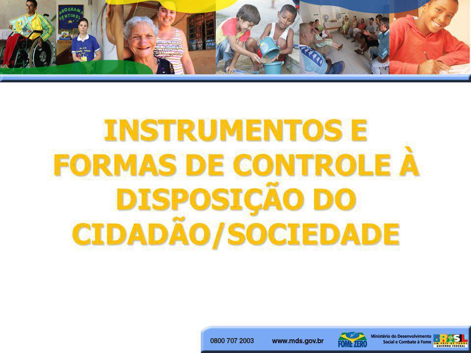 INSTRUMENTOS E FORMAS DE CONTROLE À DISPOSIÇÃO DO CIDADÃO/SOCIEDADE