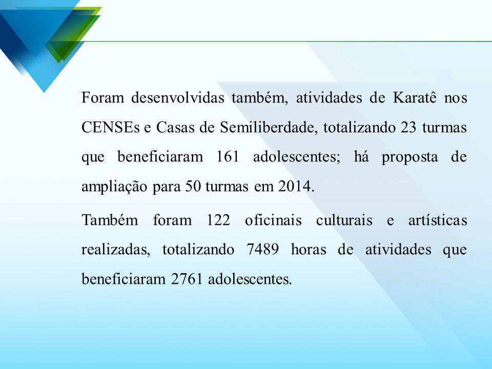Foram desenvolvidas também, atividades de Karatê nos CENSEs e Casas de Semiliberdade, totalizando 23 turmas que beneficiaram 161 adolescentes; há proposta de ampliação para 50 turmas em 2014.