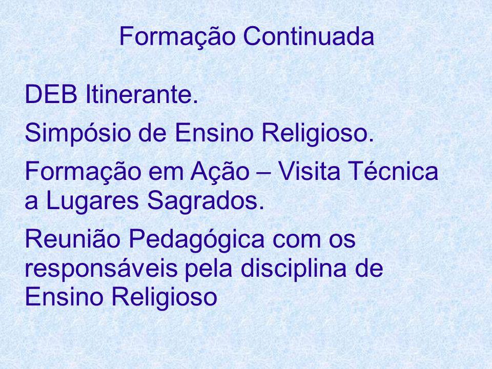 Formação Continuada DEB Itinerante. Simpósio de Ensino Religioso. Formação em Ação – Visita Técnica a Lugares Sagrados.