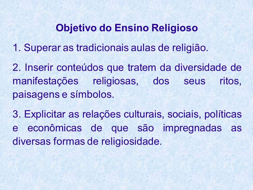 Objetivo do Ensino Religioso