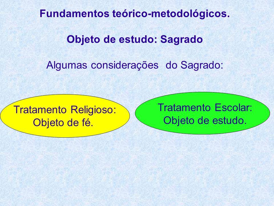 Fundamentos teórico-metodológicos. Objeto de estudo: Sagrado