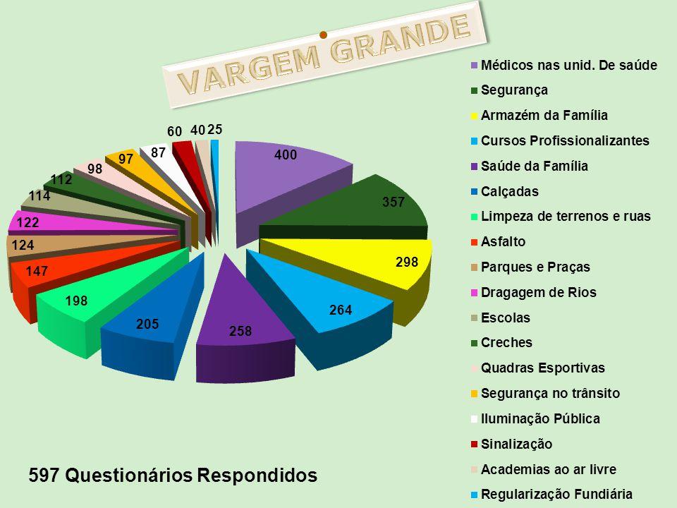 VARGEM GRANDE 597 Questionários Respondidos