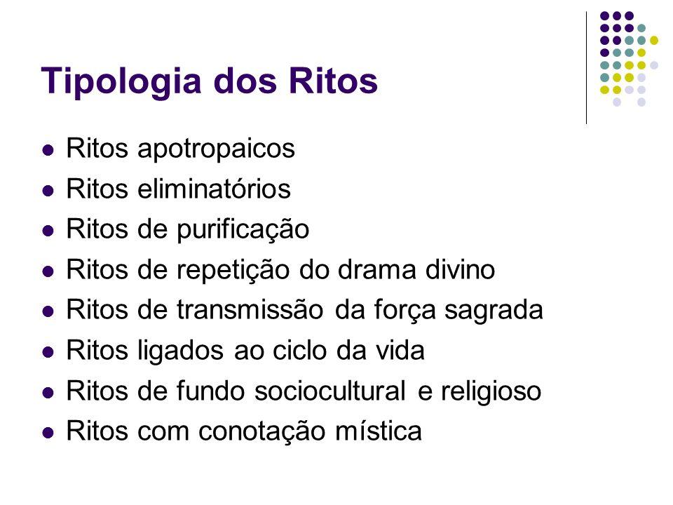 Tipologia dos Ritos Ritos apotropaicos Ritos eliminatórios