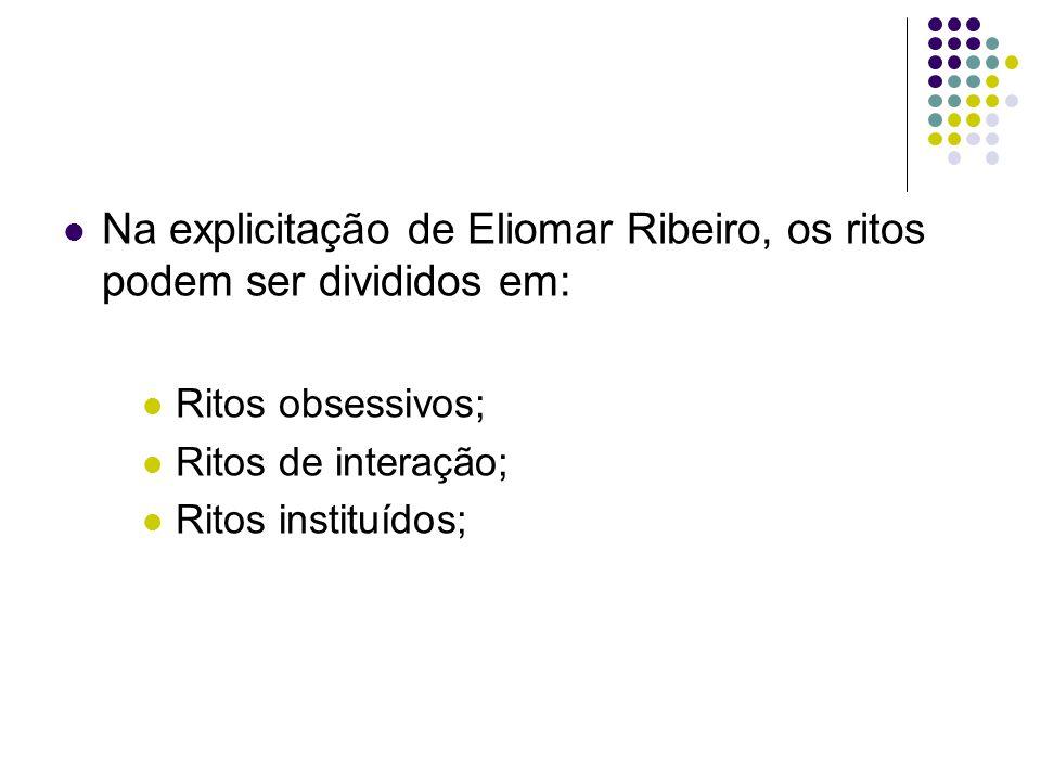Na explicitação de Eliomar Ribeiro, os ritos podem ser divididos em: