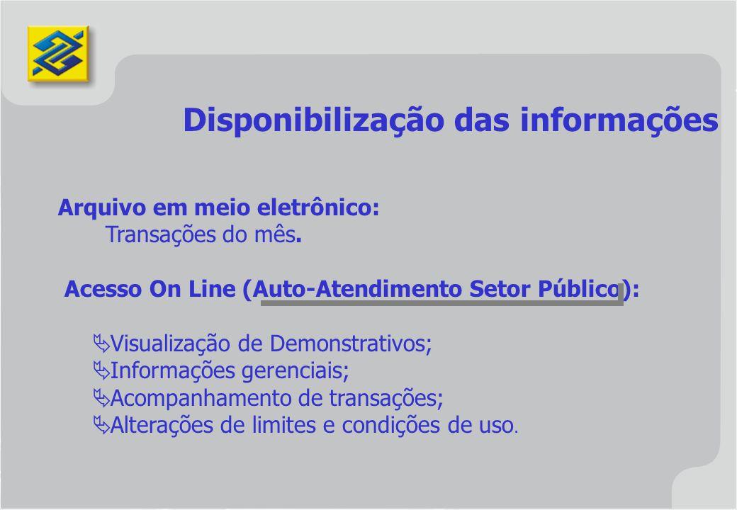 Disponibilização das informações