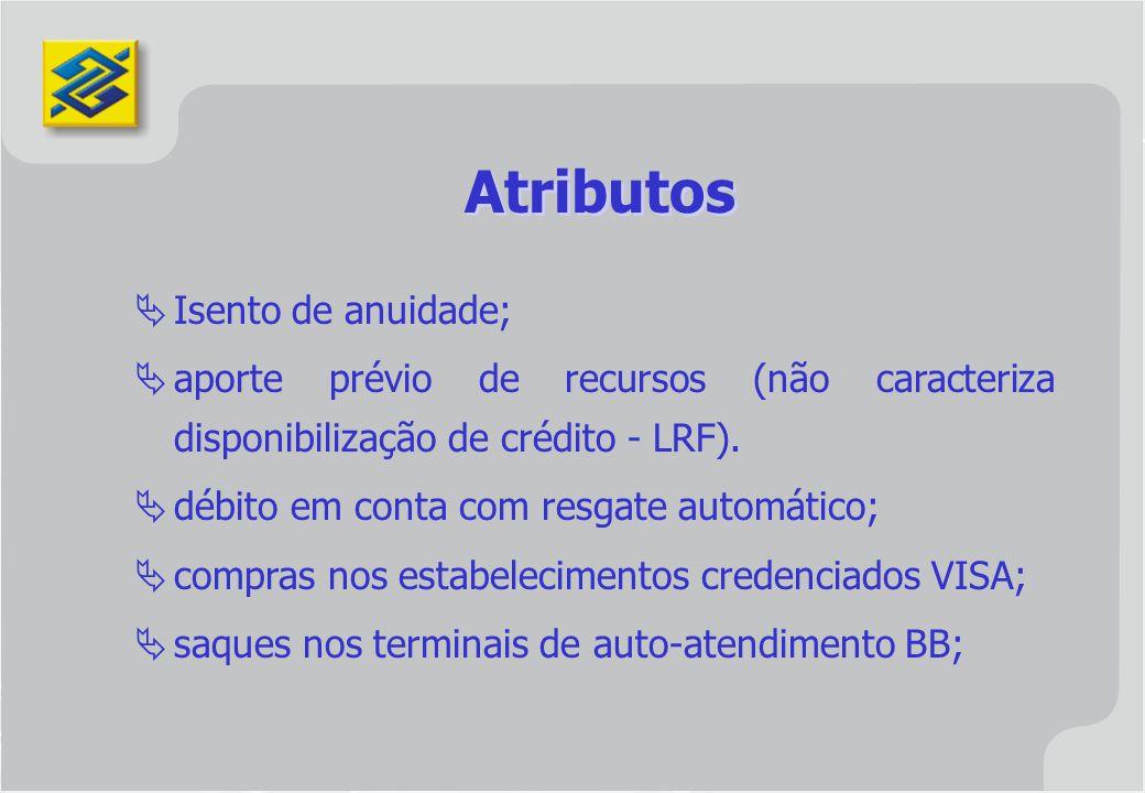 Atributos Isento de anuidade;