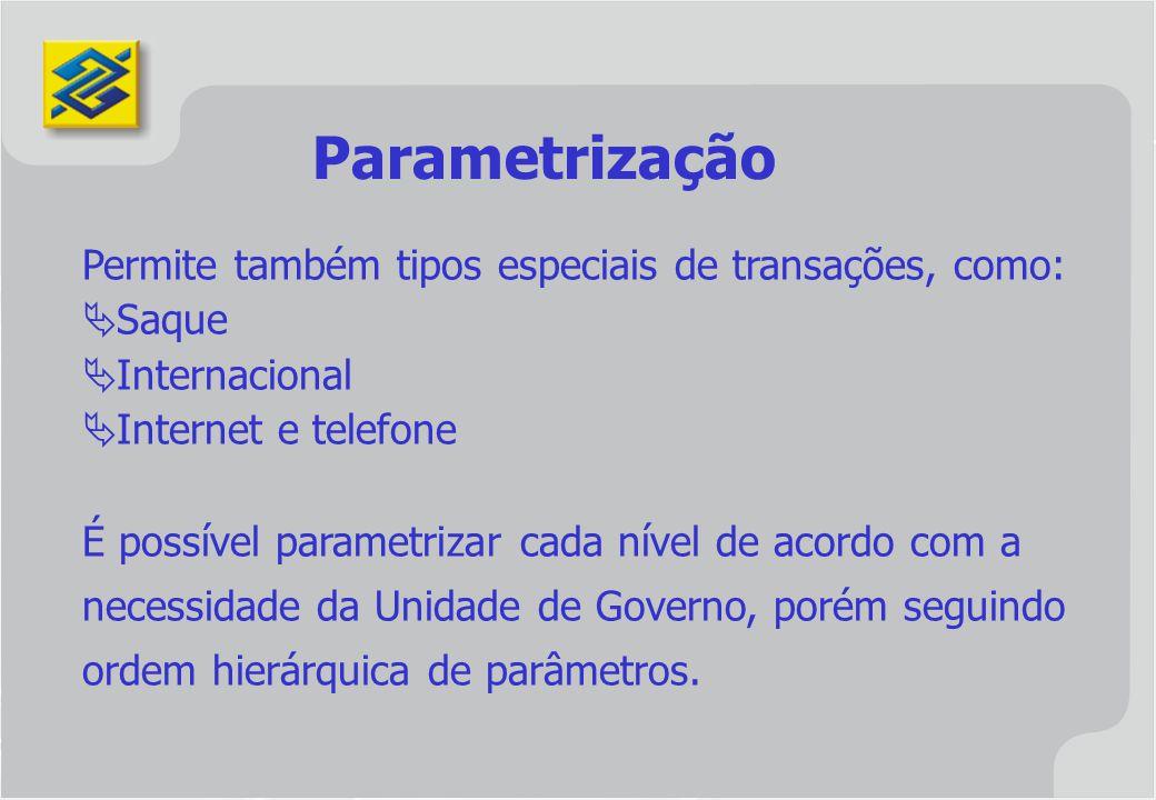 Parametrização Permite também tipos especiais de transações, como:
