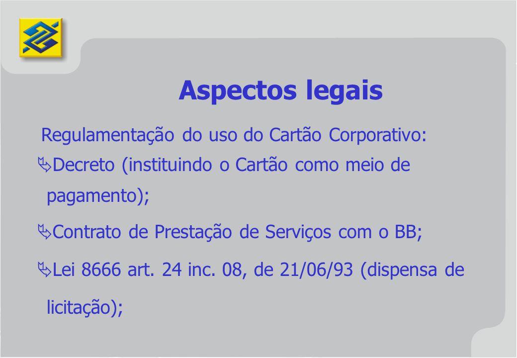 Aspectos legais Decreto (instituindo o Cartão como meio de pagamento);