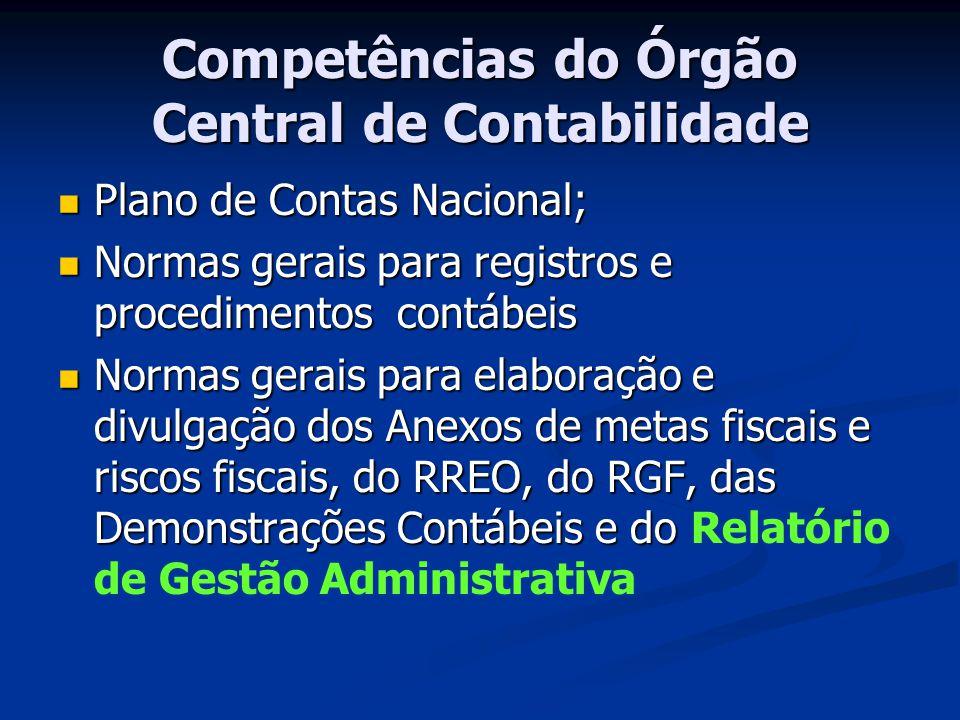 Competências do Órgão Central de Contabilidade
