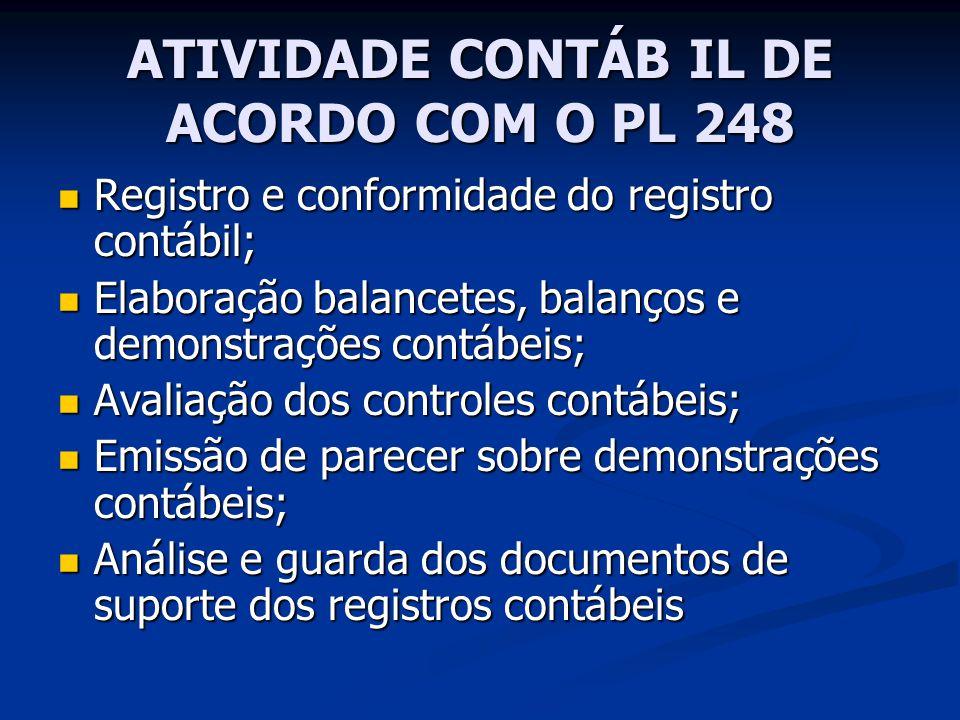 ATIVIDADE CONTÁB IL DE ACORDO COM O PL 248