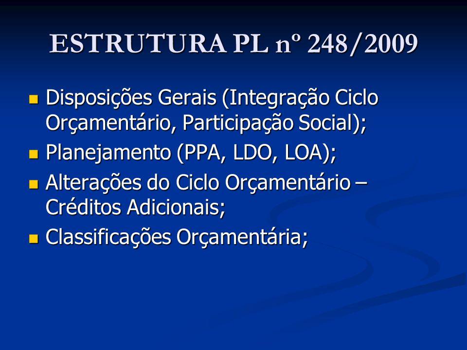 ESTRUTURA PL nº 248/2009 Disposições Gerais (Integração Ciclo Orçamentário, Participação Social); Planejamento (PPA, LDO, LOA);