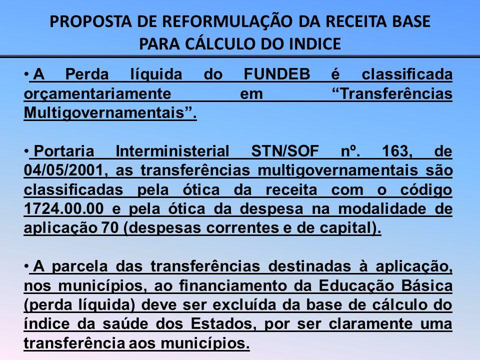 PROPOSTA DE REFORMULAÇÃO DA RECEITA BASE PARA CÁLCULO DO INDICE