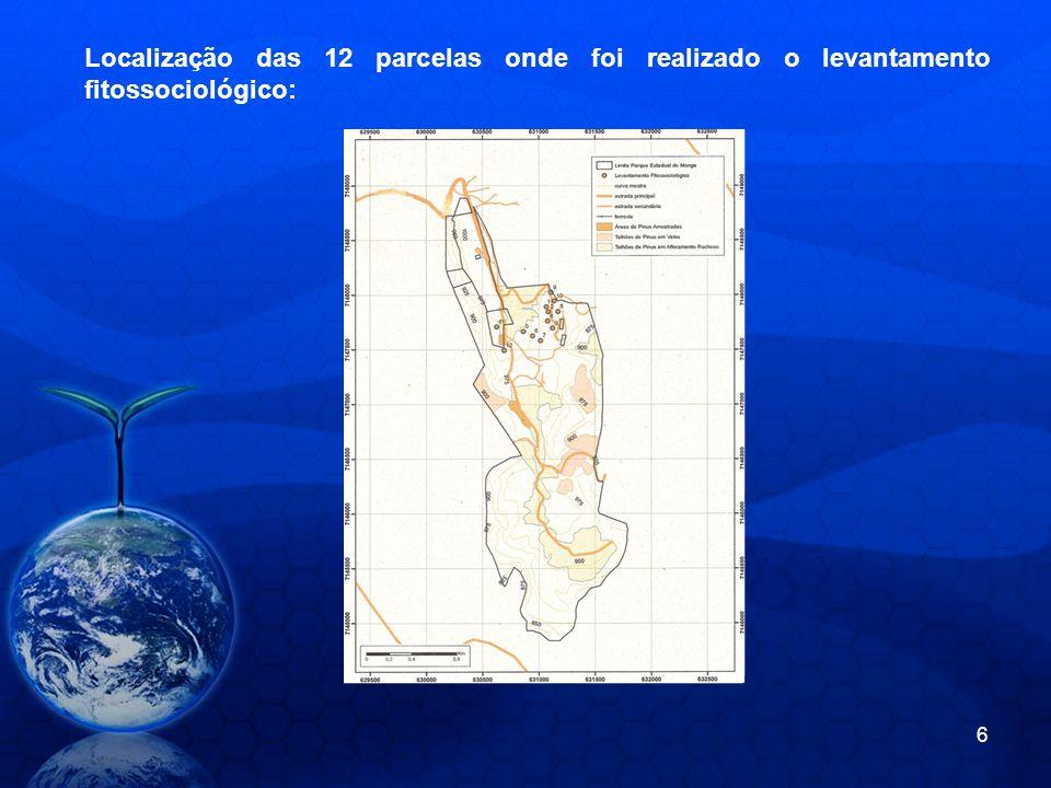 Localização das 12 parcelas onde foi realizado o levantamento fitossociológico: