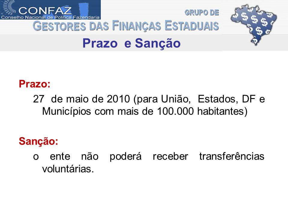 Prazo e Sanção Prazo: 27 de maio de 2010 (para União, Estados, DF e Municípios com mais de 100.000 habitantes)