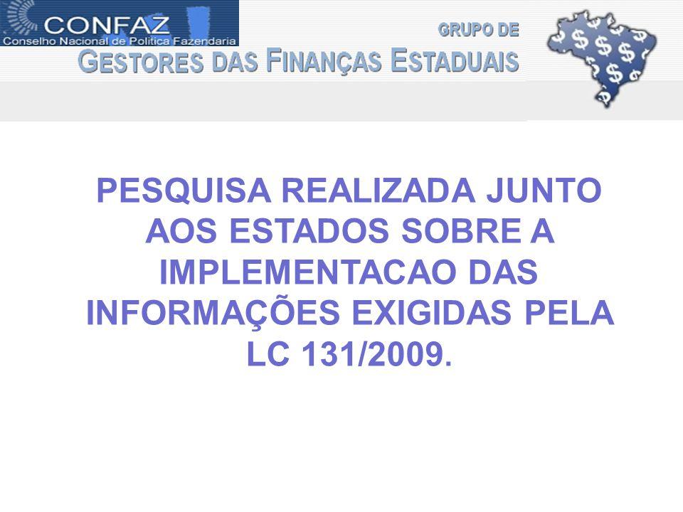 PESQUISA REALIZADA JUNTO AOS ESTADOS SOBRE A IMPLEMENTACAO DAS INFORMAÇÕES EXIGIDAS PELA LC 131/2009.