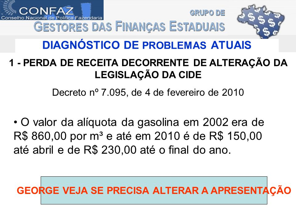 DIAGNÓSTICO DE PROBLEMAS ATUAIS