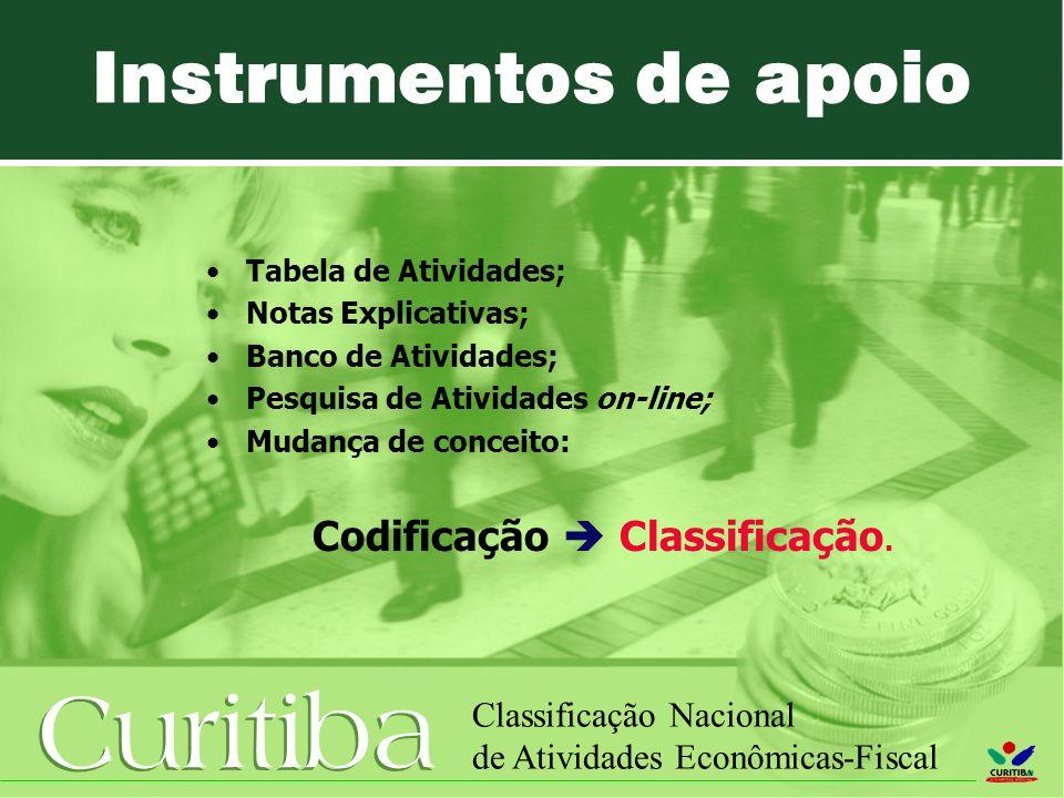 Instrumentos de apoio Tabela de Atividades; Notas Explicativas;