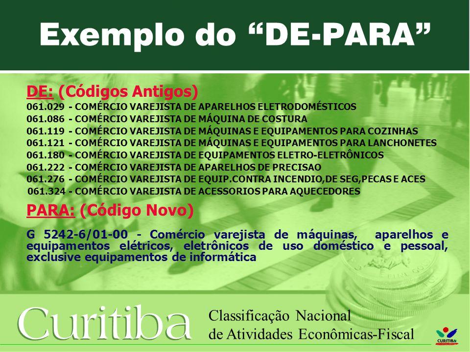 Exemplo do DE-PARA DE: (Códigos Antigos) PARA: (Código Novo)