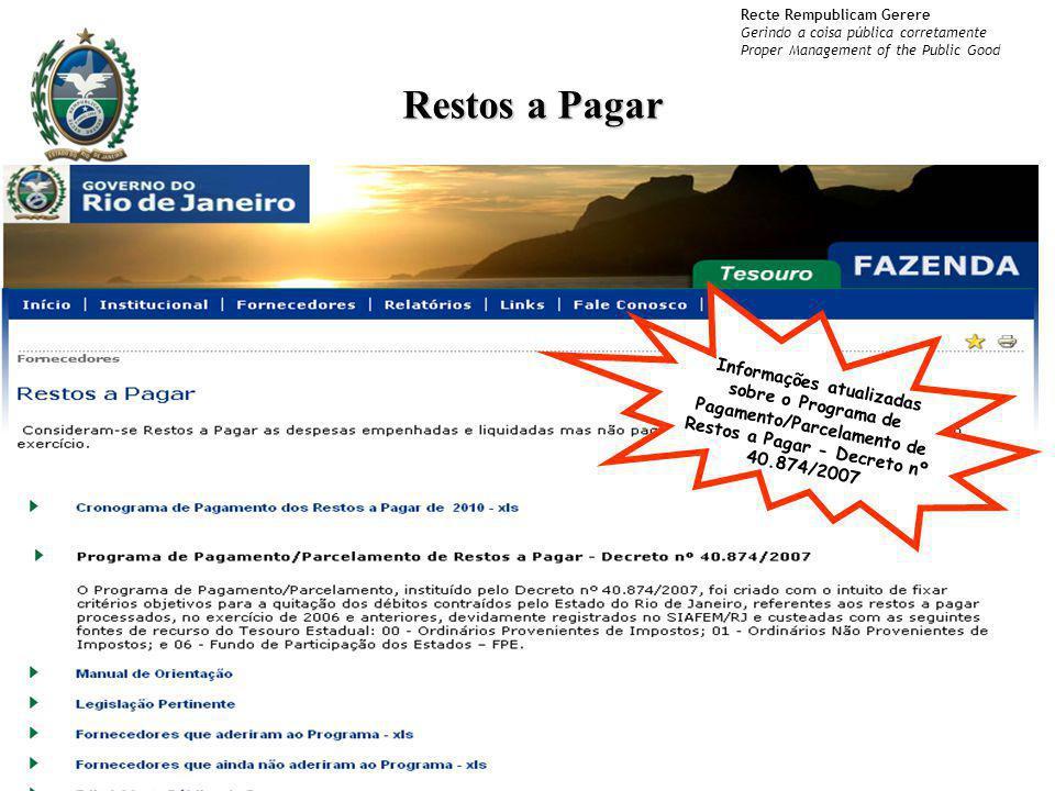 Restos a Pagar Informações atualizadas sobre o Programa de Pagamento/Parcelamento de Restos a Pagar - Decreto nº 40.874/2007.