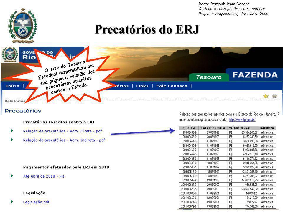 Precatórios do ERJ O site do Tesouro Estadual disponibiliza em sua página a relação dos precatórios inscritos contra o Estado.