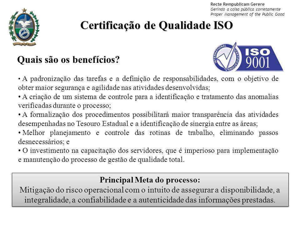 Certificação de Qualidade ISO Principal Meta do processo: