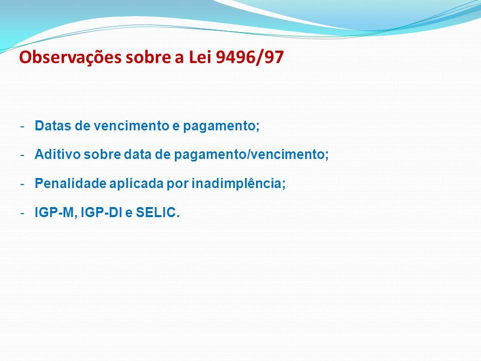 Observações sobre a Lei 9496/97