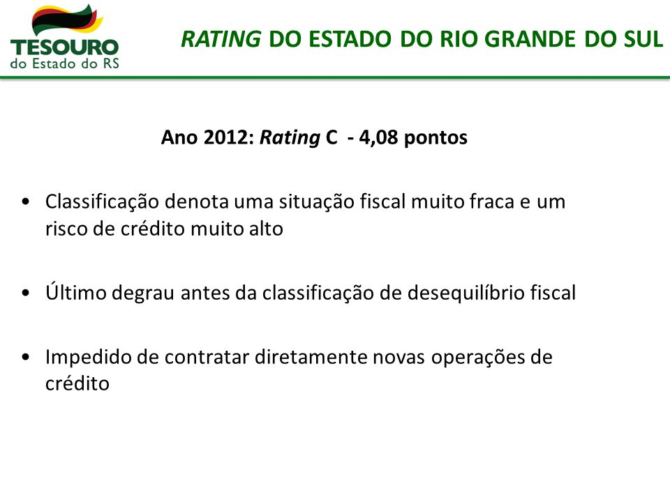 RATING DO ESTADO DO RIO GRANDE DO SUL