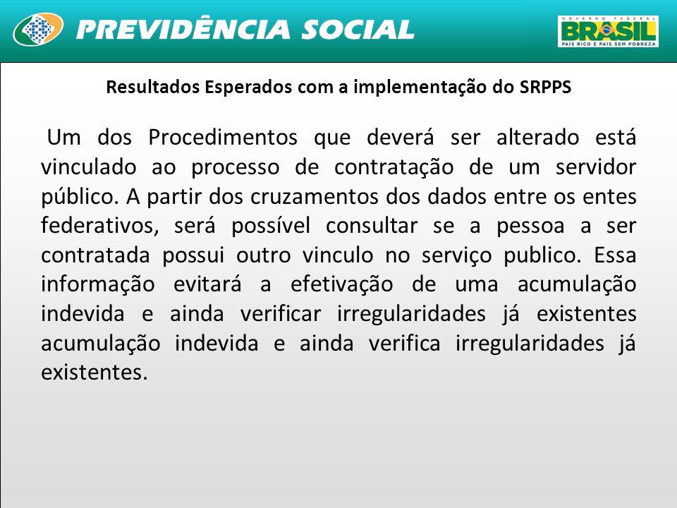 Resultados Esperados com a implementação do SRPPS
