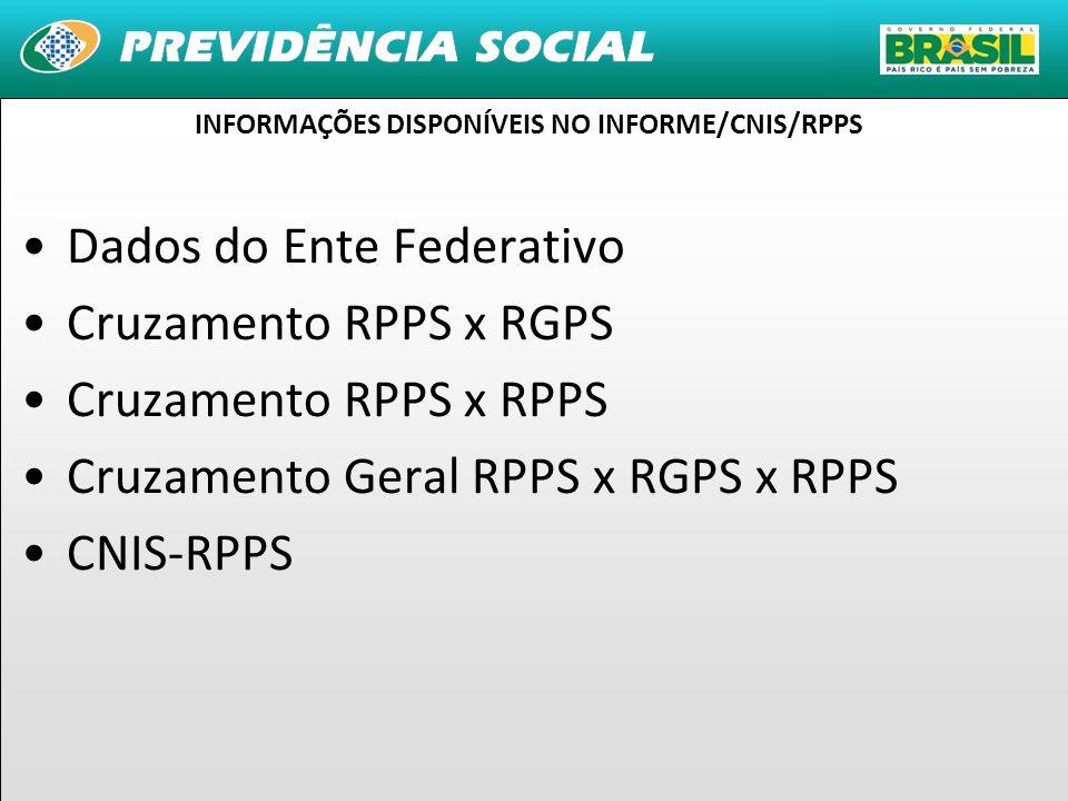 INFORMAÇÕES DISPONÍVEIS NO INFORME/CNIS/RPPS