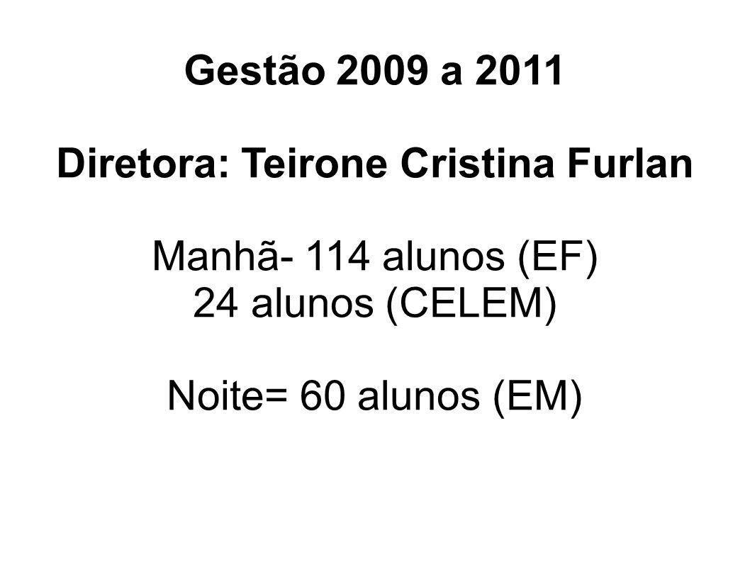 Gestão 2009 a 2011 Diretora: Teirone Cristina Furlan Manhã- 114 alunos (EF) 24 alunos (CELEM) Noite= 60 alunos (EM)