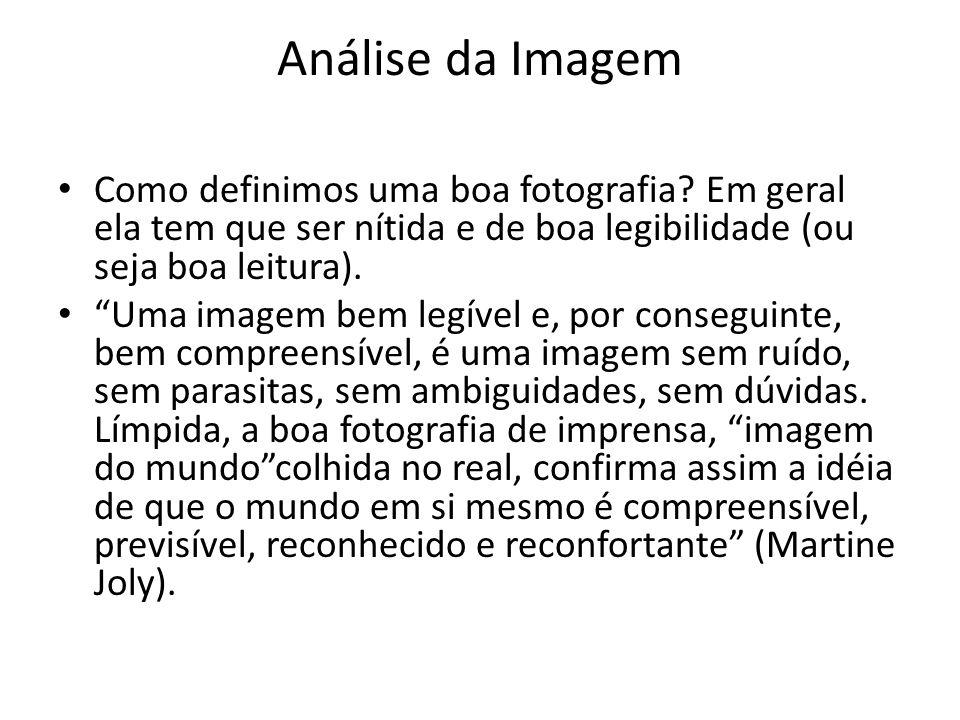 Análise da Imagem Como definimos uma boa fotografia Em geral ela tem que ser nítida e de boa legibilidade (ou seja boa leitura).