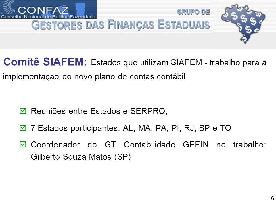 Comitê SIAFEM: Estados que utilizam SIAFEM - trabalho para a implementação do novo plano de contas contábil