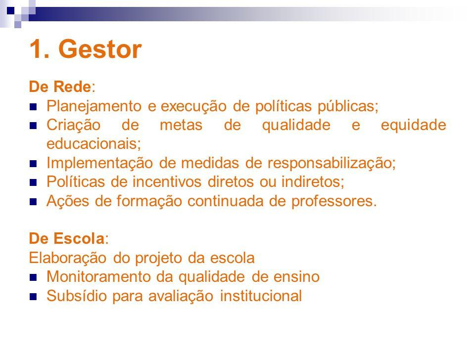 1. Gestor De Rede: Planejamento e execução de políticas públicas;