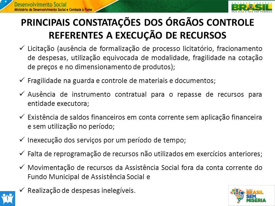 PRINCIPAIS CONSTATAÇÕES DOS ÓRGÃOS CONTROLE REFERENTES A EXECUÇÃO DE RECURSOS