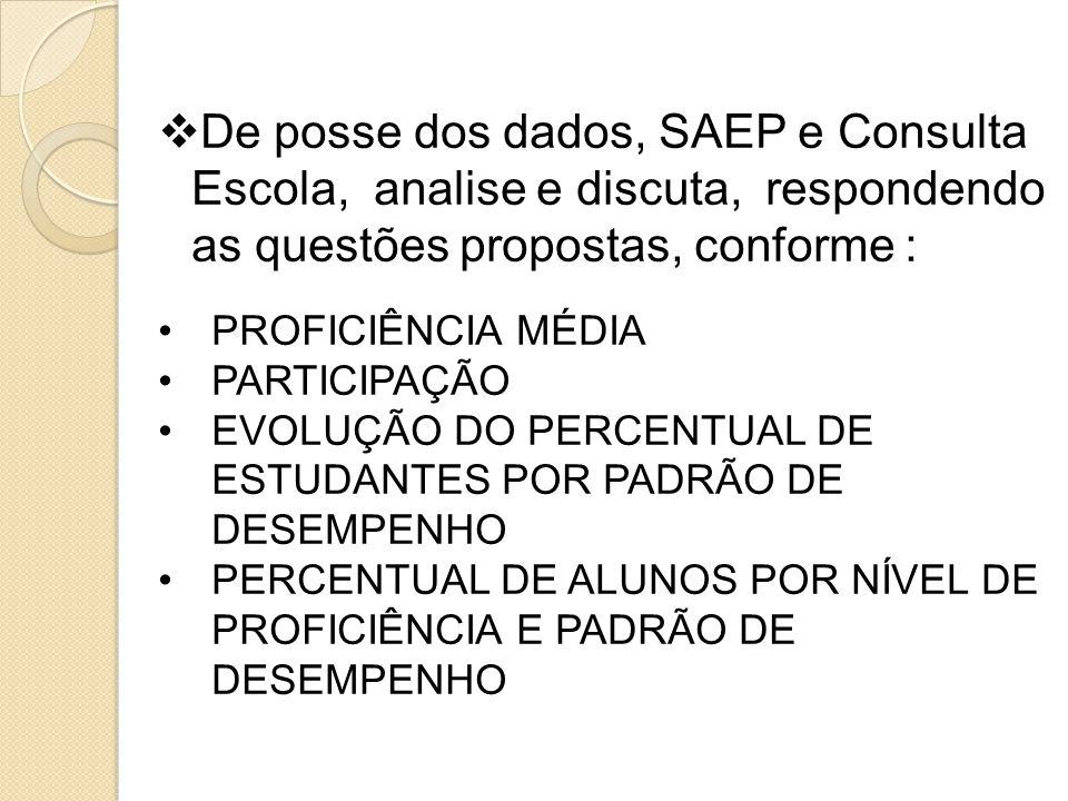 De posse dos dados, SAEP e Consulta Escola, analise e discuta, respondendo as questões propostas, conforme :