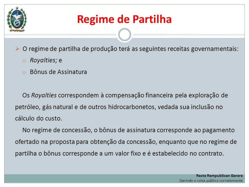 Regime de Partilha O regime de partilha de produção terá as seguintes receitas governamentais: Royalties; e.