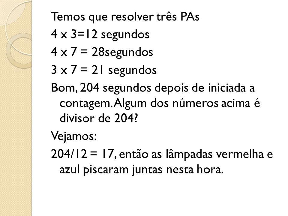 Temos que resolver três PAs 4 x 3=12 segundos 4 x 7 = 28segundos 3 x 7 = 21 segundos Bom, 204 segundos depois de iniciada a contagem.