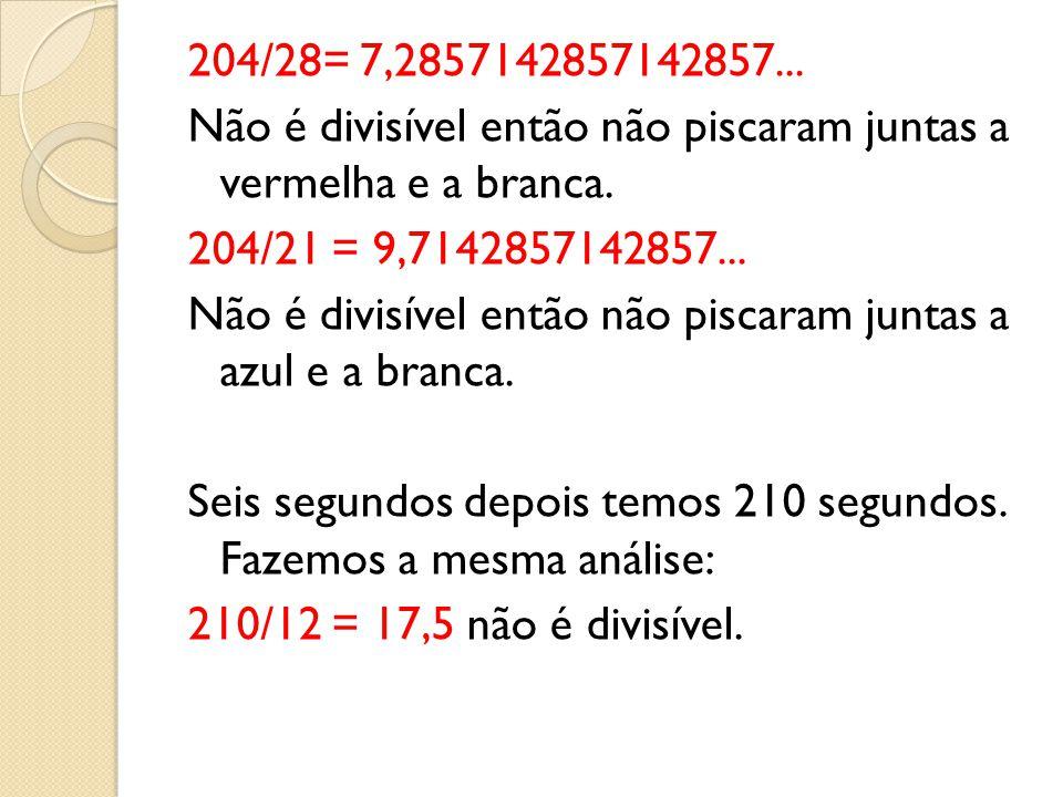 204/28= 7,2857142857142857... Não é divisível então não piscaram juntas a vermelha e a branca.