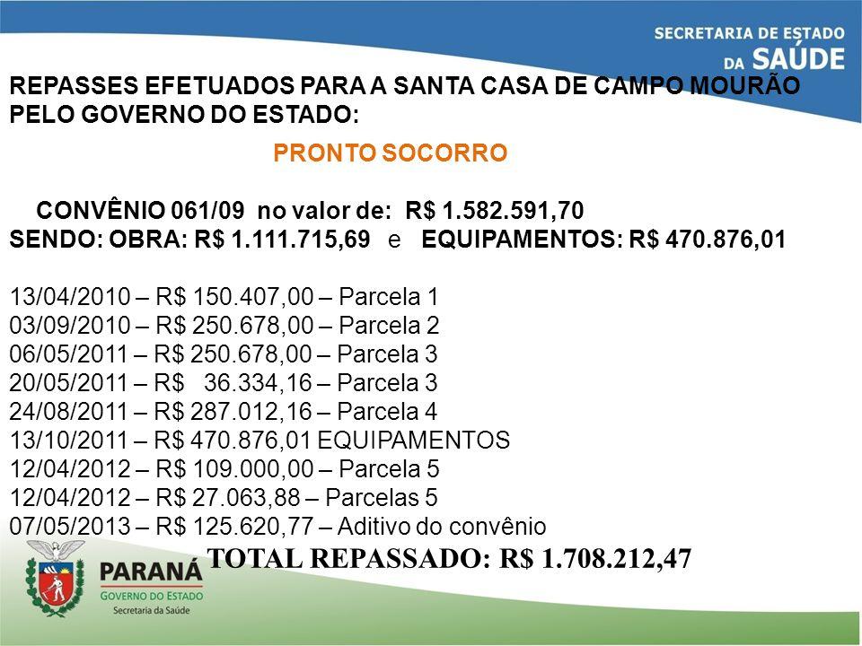 REPASSES EFETUADOS PARA A SANTA CASA DE CAMPO MOURÃO PELO GOVERNO DO ESTADO: