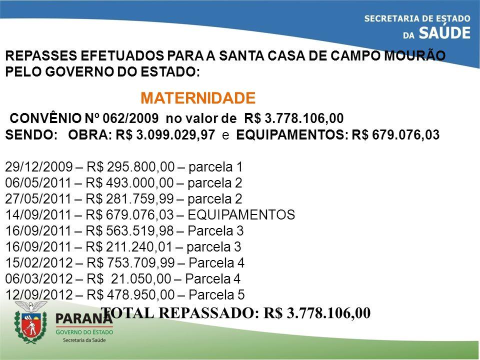 CONVÊNIO Nº 062/2009 no valor de R$ 3.778.106,00