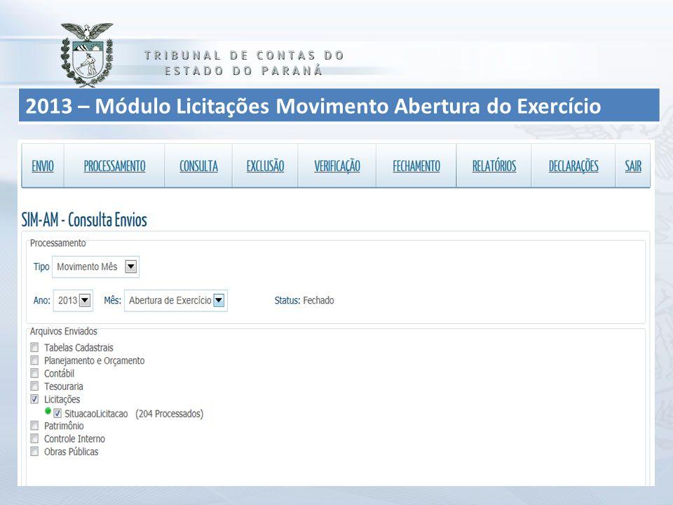 2013 – Módulo Licitações Movimento Abertura do Exercício