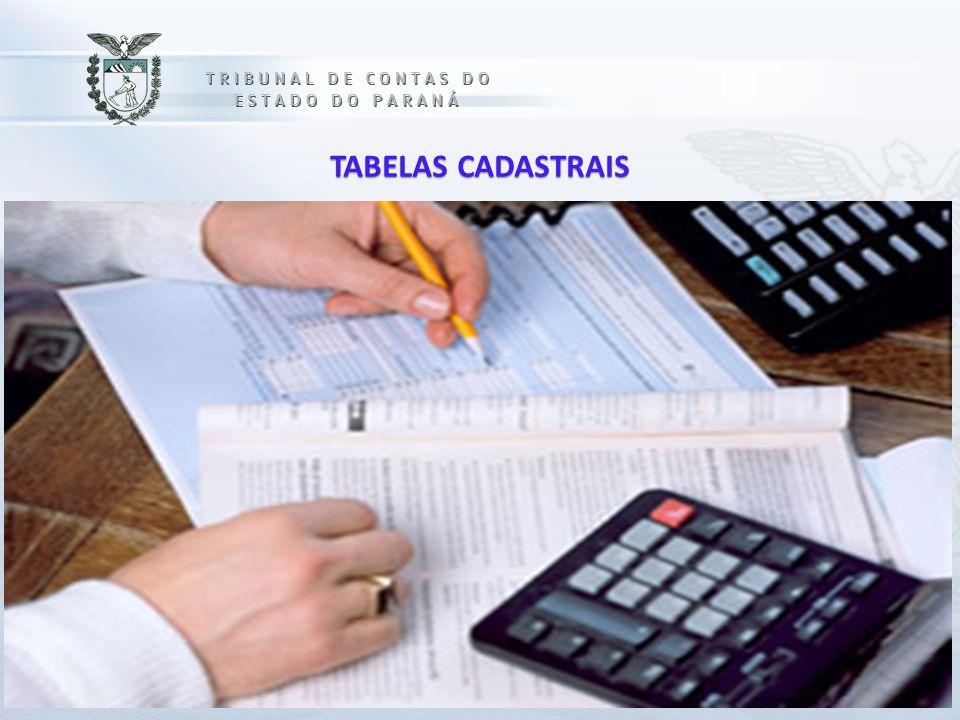 TABELAS CADASTRAIS