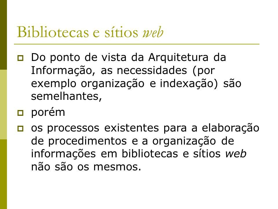 Bibliotecas e sítios web