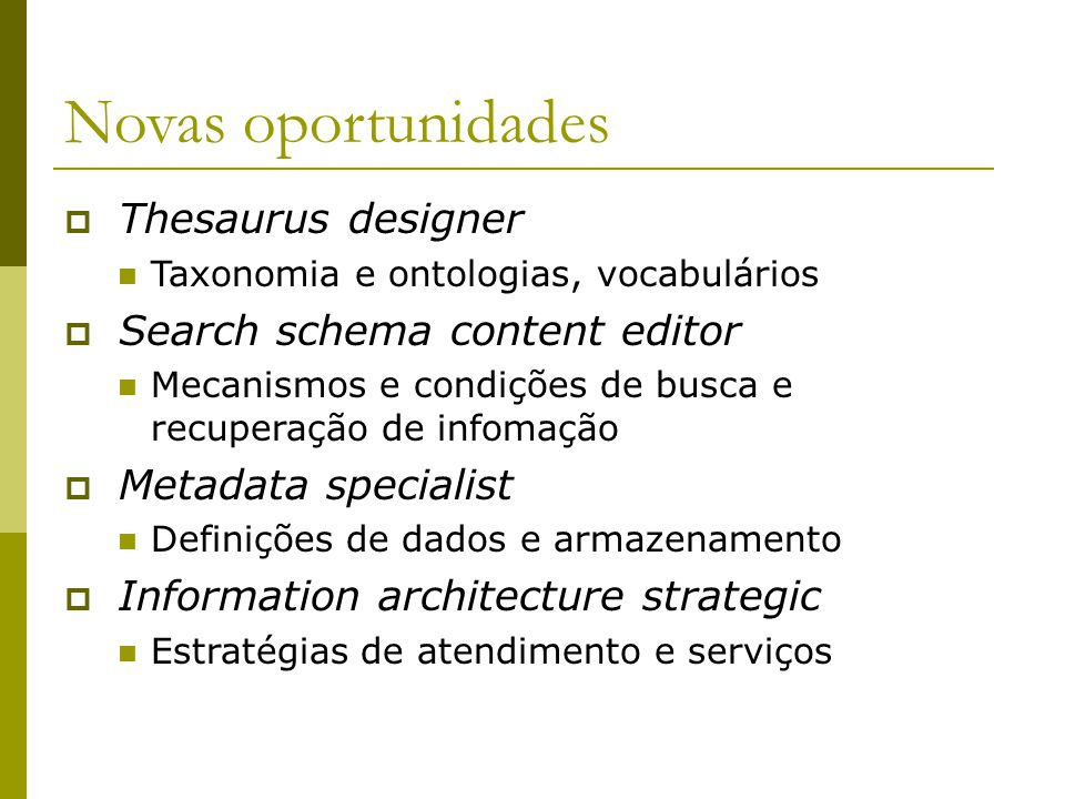 Novas oportunidades Thesaurus designer Search schema content editor