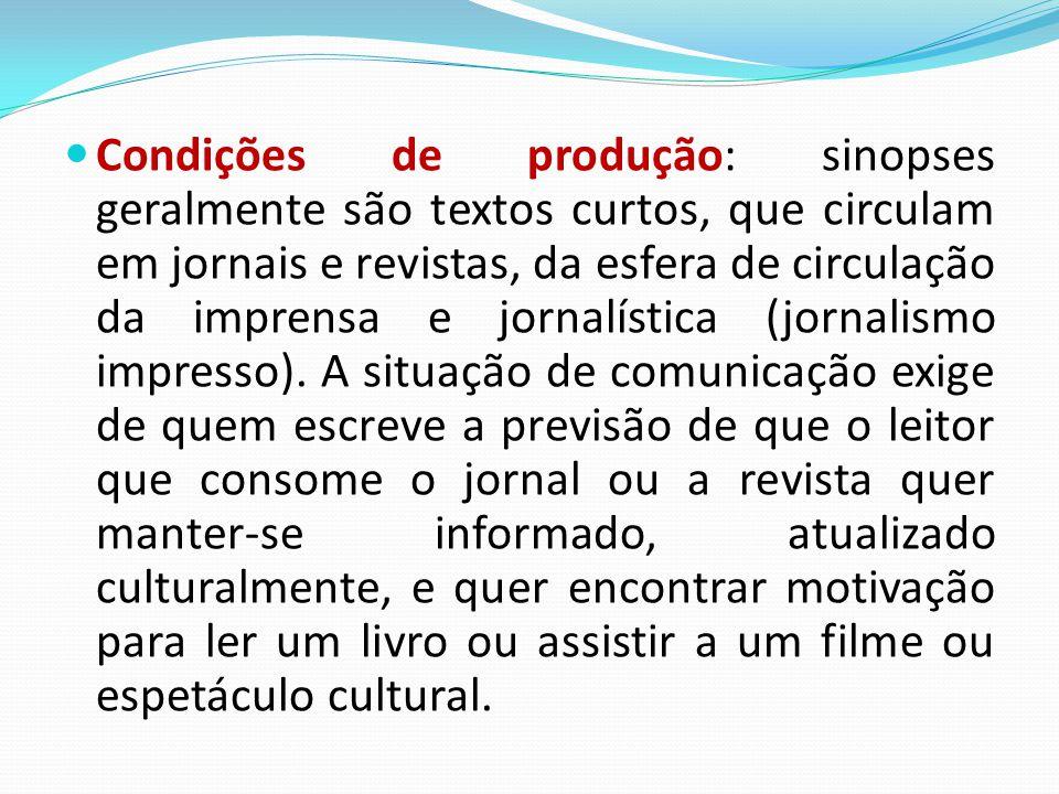 Condições de produção: sinopses geralmente são textos curtos, que circulam em jornais e revistas, da esfera de circulação da imprensa e jornalística (jornalismo impresso).