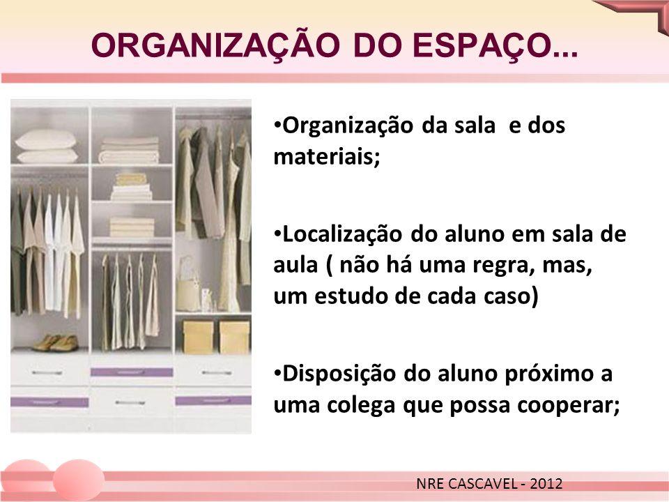 ORGANIZAÇÃO DO ESPAÇO... Organização da sala e dos materiais;