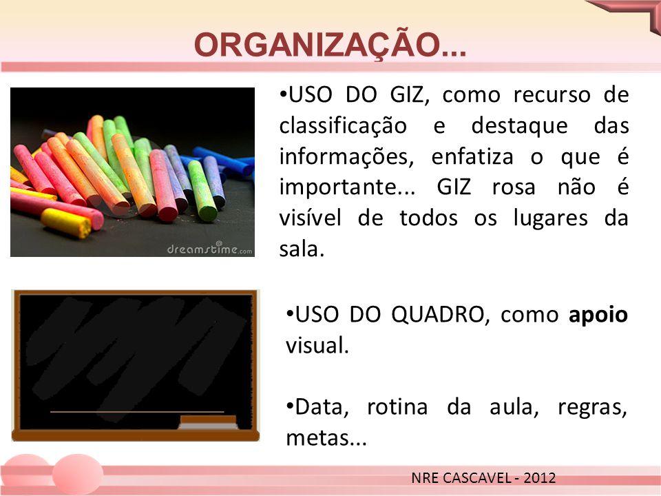 ORGANIZAÇÃO... NRE CASCAVEL - 2012.