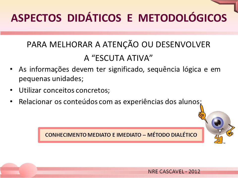ASPECTOS DIDÁTICOS E METODOLÓGICOS