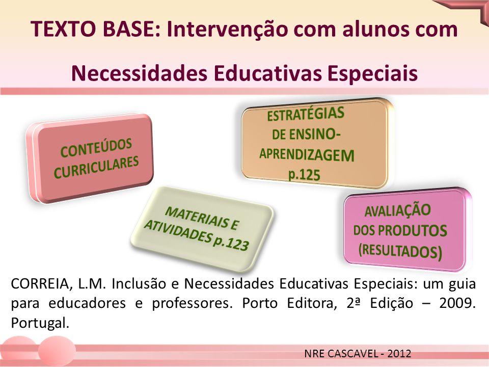 TEXTO BASE: Intervenção com alunos com Necessidades Educativas Especiais